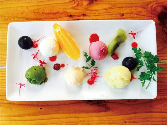 自家製バニラアイスと季節のアイス盛り合わせ5種